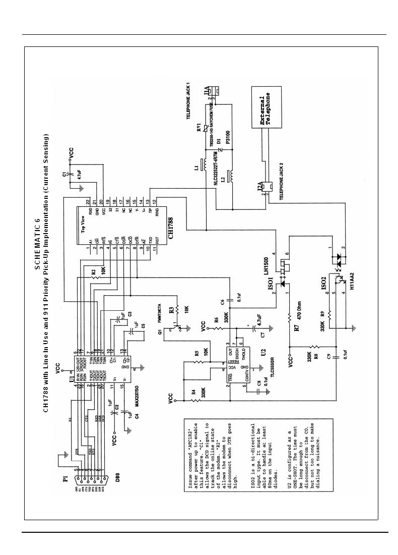 Cermetek Microelectronics Inc Low Speed Modem Datasheets Schematic For Remote Telephone Ringer Document No 607 0018 Revision A6 01 06